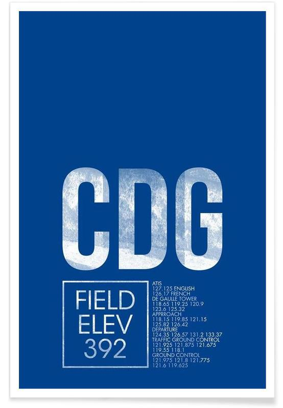 CDG Paris Luggage Tag Poster