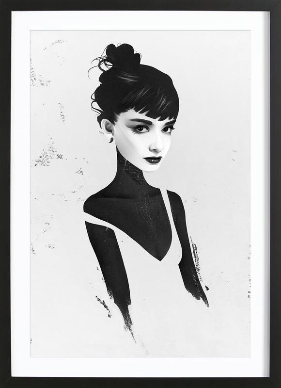 Oh, Audrey affiche sous cadre en bois