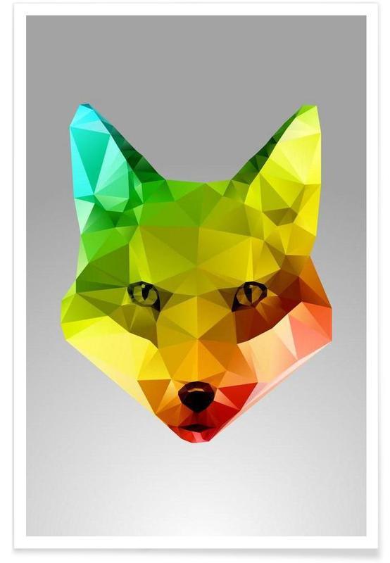 Geometric Fox Portrait Poster