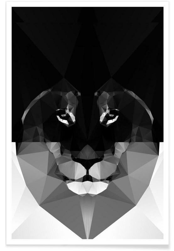 Geometric Lion Monochrome Poster