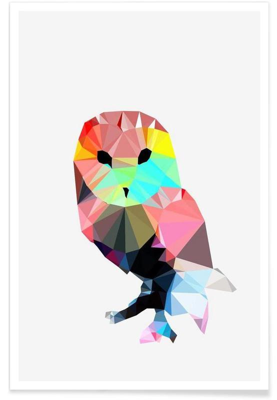Hibou géométrique affiche