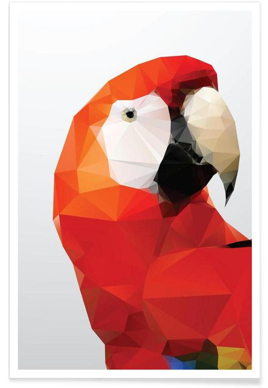 Geometric Parrot Red Poster
