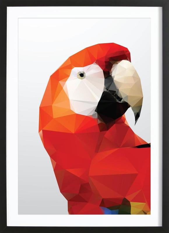 Geo Parrot Red Framed Print
