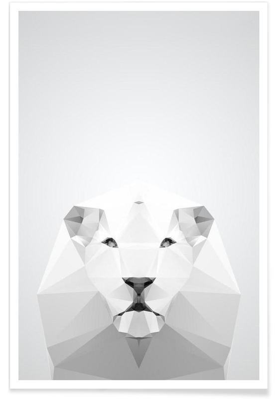 Geometrischer Löwe-Weiß -Poster