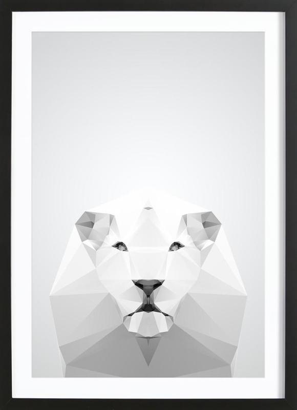 Geo White Lion -Bild mit Holzrahmen