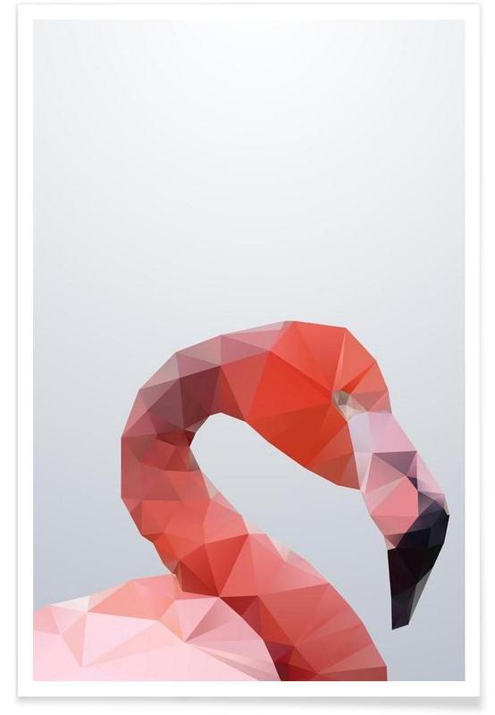 Geometric Flamingo Head Poster