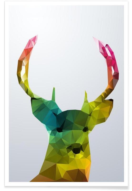 Geometrische herten poster