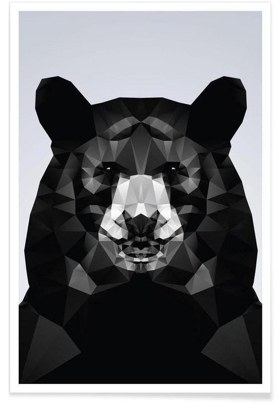 Ours noir géométrique affiche
