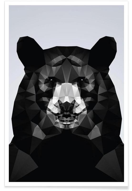 Geometrische zwarte beer poster