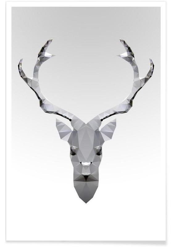 Geometrischer Hirsch-Weiß -Poster