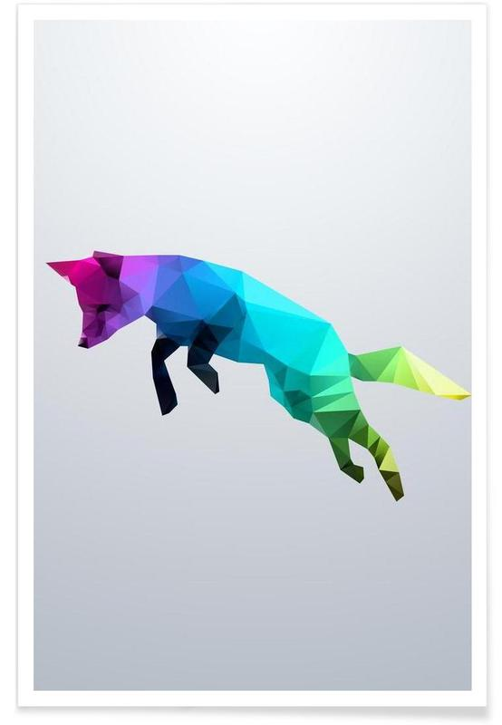 Geometric Jumping Fox Poster