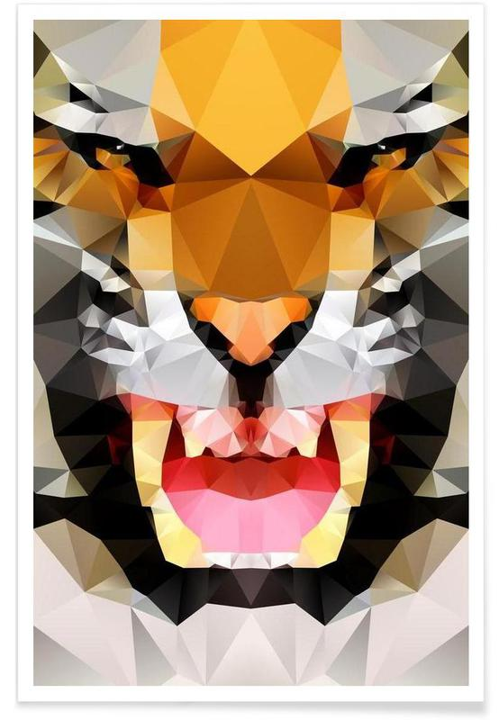 Geometric Tiger Roar Poster