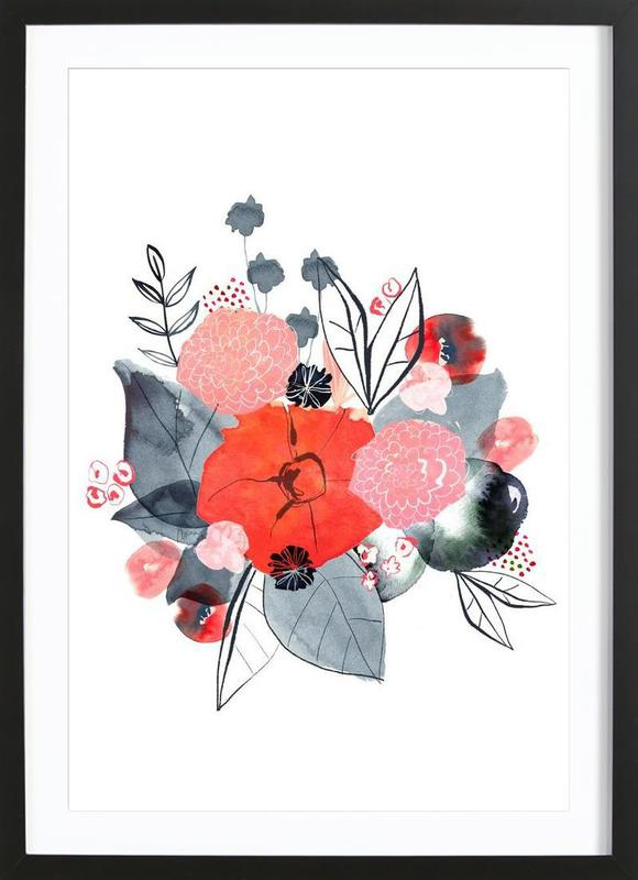 Flowers -Bild mit Holzrahmen