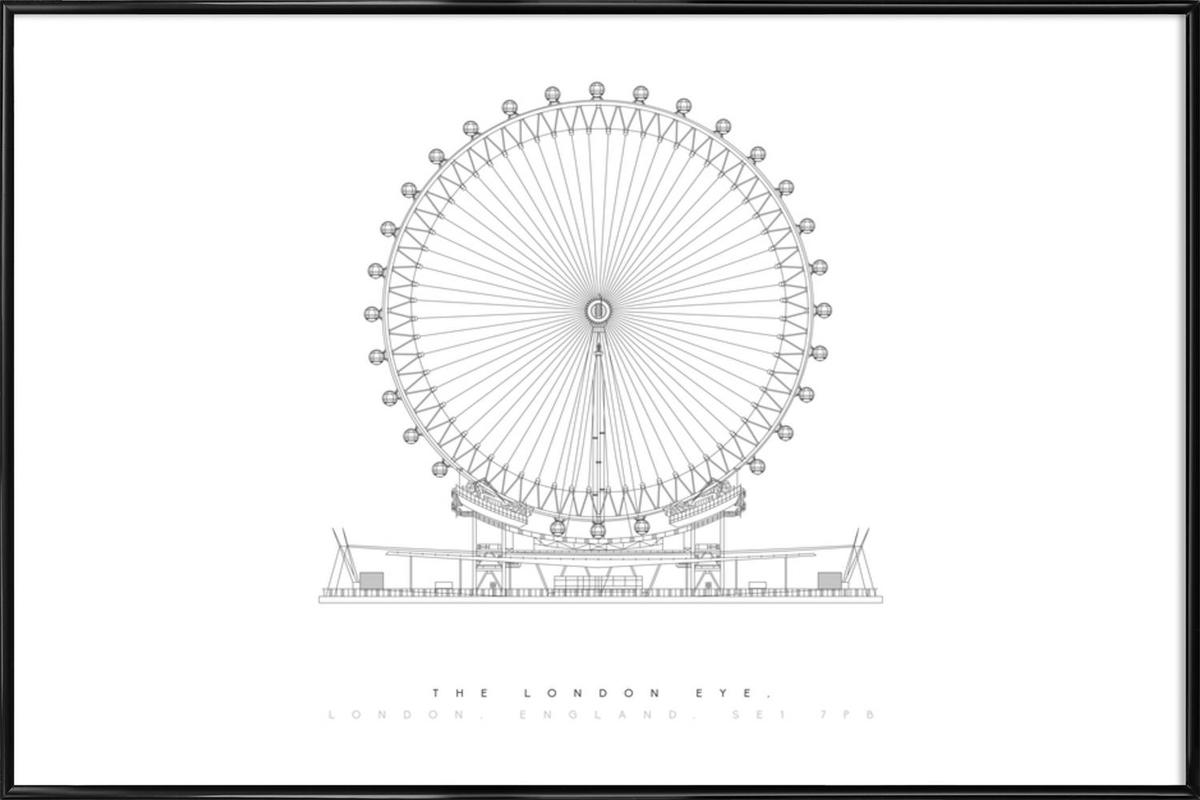 The London Eye -Bild mit Kunststoffrahmen