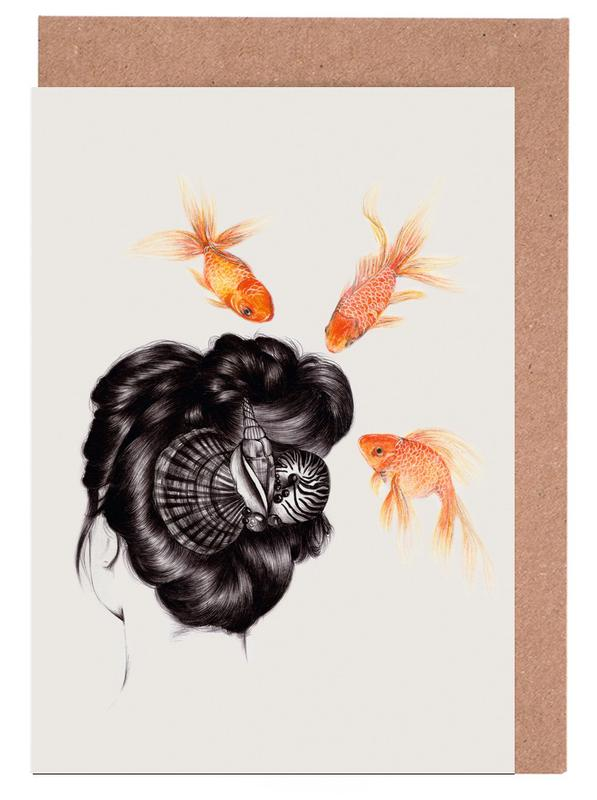 Fish Hair 4 Greeting Card Set