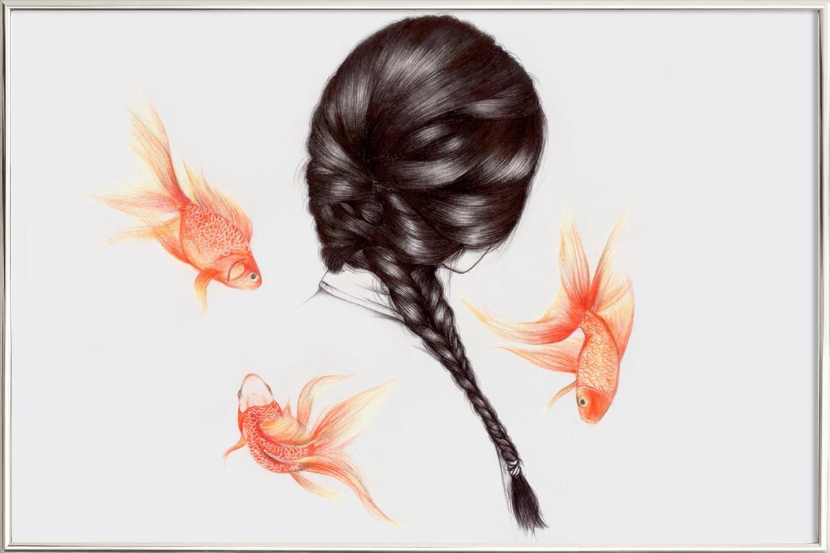 Fish Hair 1 poster in aluminium lijst