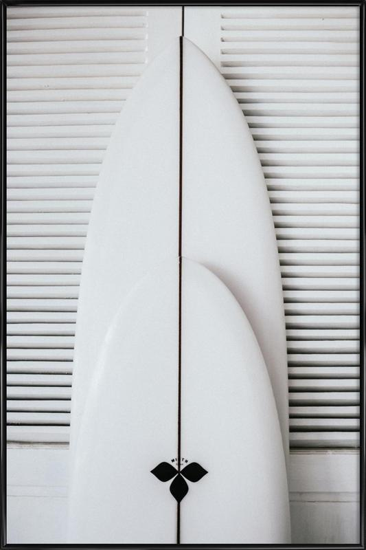 Beach Surf Board Symmetrie Framed Poster