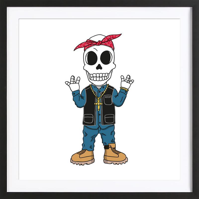 West Coast Skull -Bild mit Holzrahmen