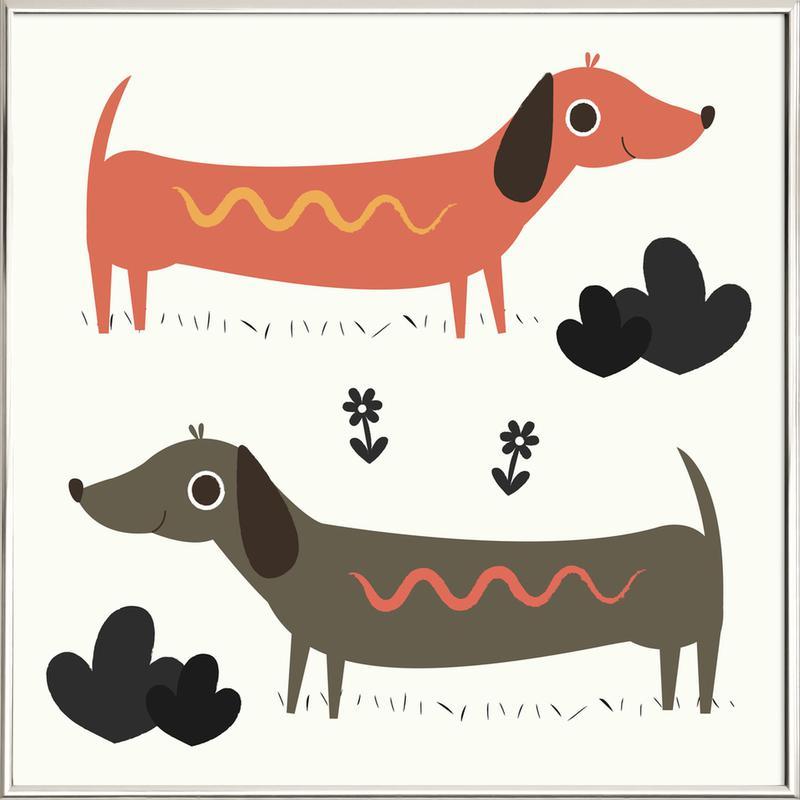 Wiener Dogs Poster in Aluminium Frame