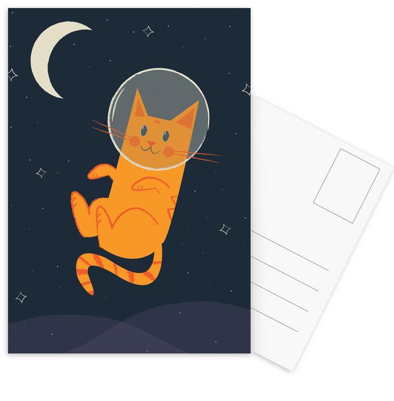 Floating Space Cat Postcard Set