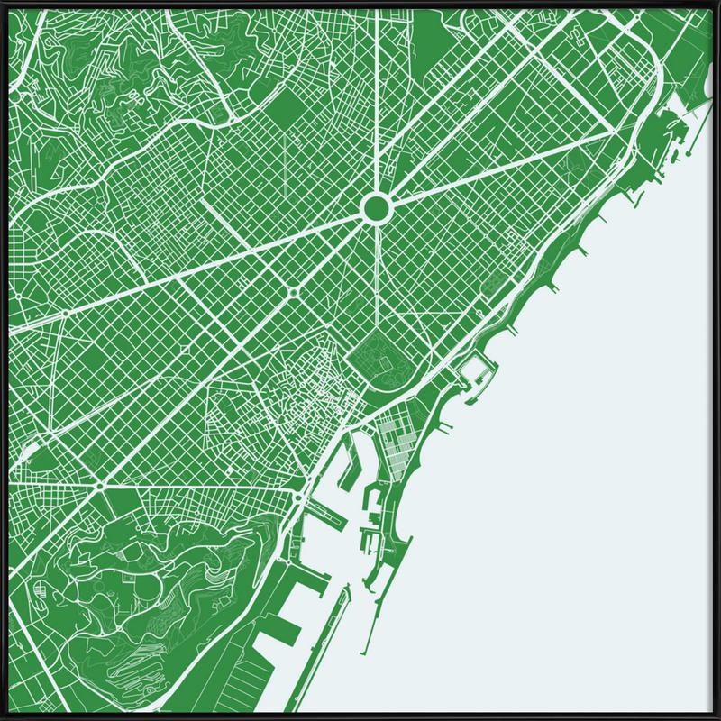 Barcelona Green Framed Poster