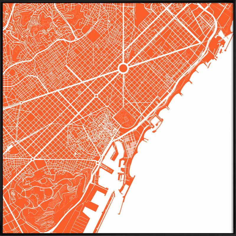 Barcelona Red Framed Poster