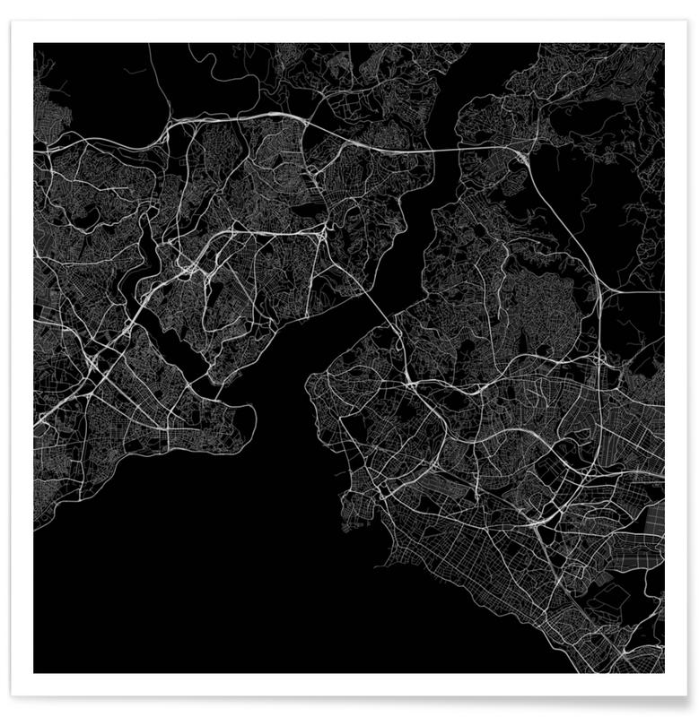 Traffic Istanbul Black poster