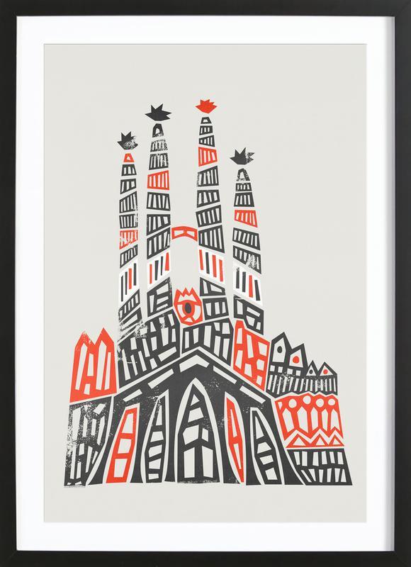 Sagrada Familia -Bild mit Holzrahmen