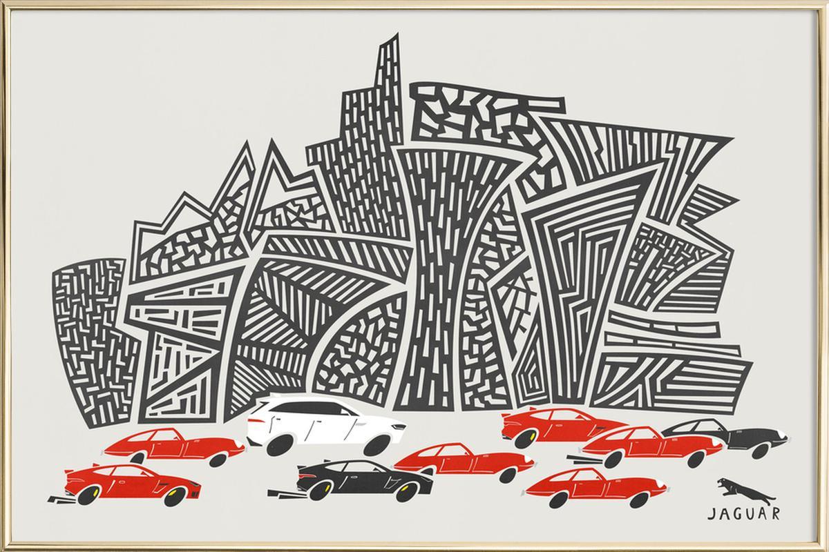 Jaguar City Poster in Aluminium Frame