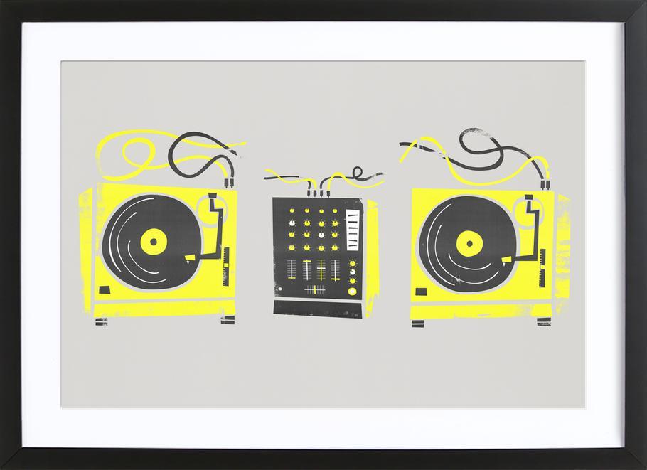 DJ Decks affiche sous cadre en bois