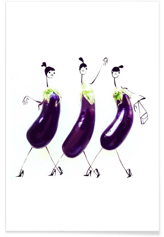 Aubergine - modeschets poster