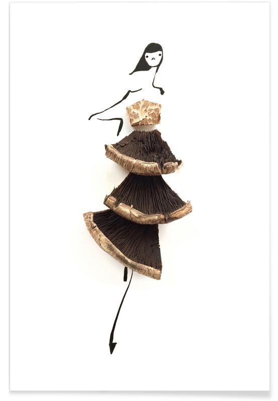 Champignon - Croquis de mode affiche