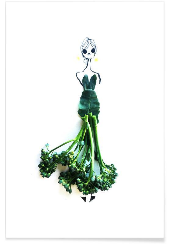 Broccoli Fashion Sketch Poster
