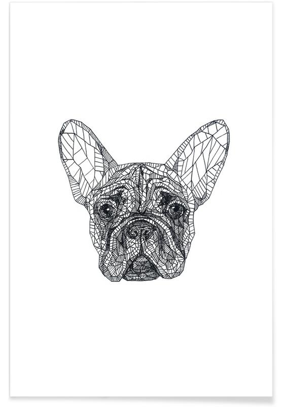 Frenchie Pencil Sketch Poster