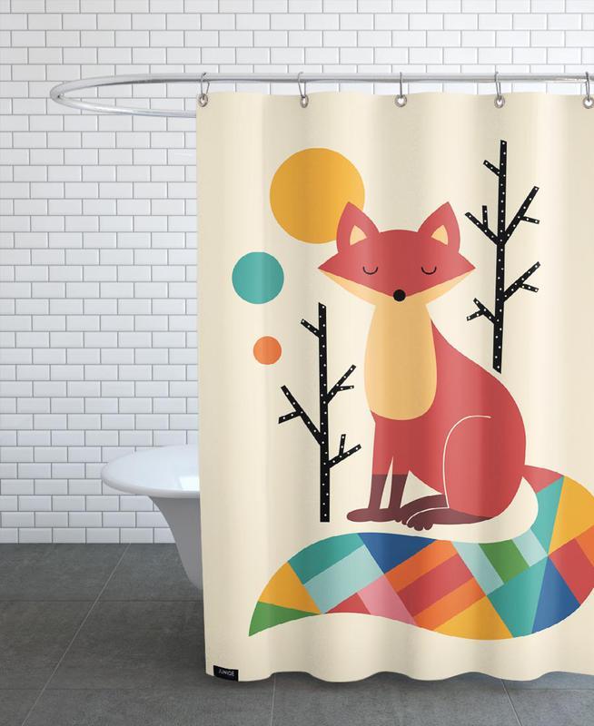Rainbow Fox Shower Curtain