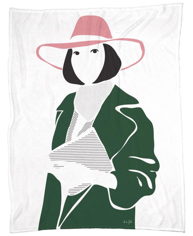 Girl in a Hat Fleece Blanket