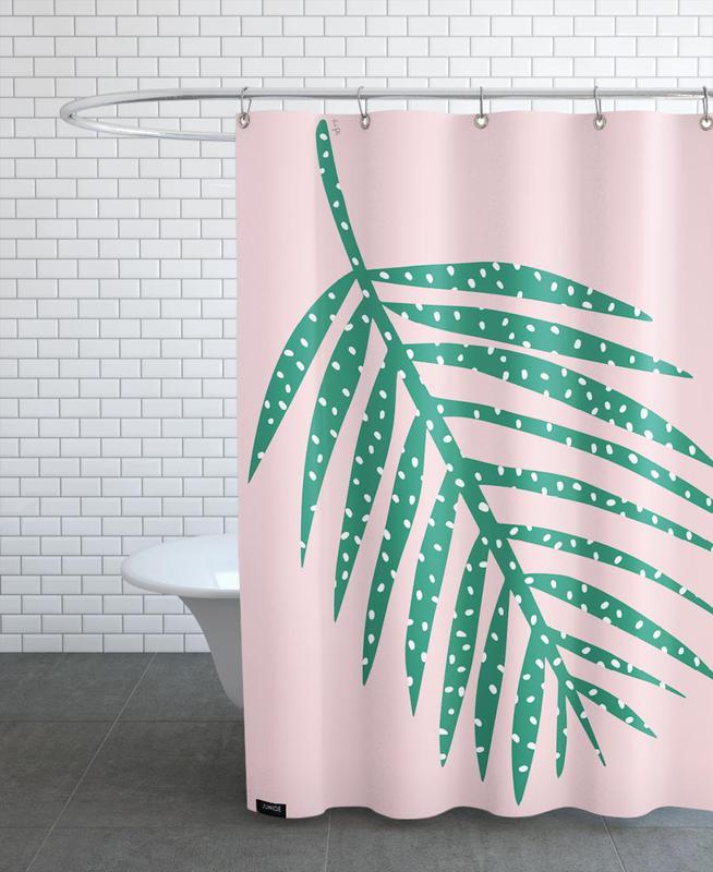 Polka Dot Leaf in Pink -Duschvorhang