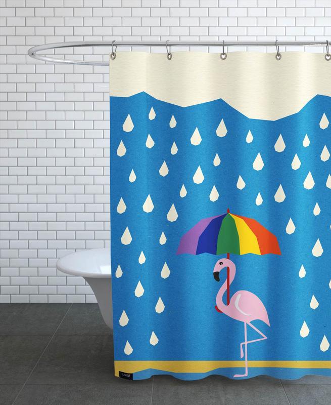 Flamingo de Umbrella Shower Curtain