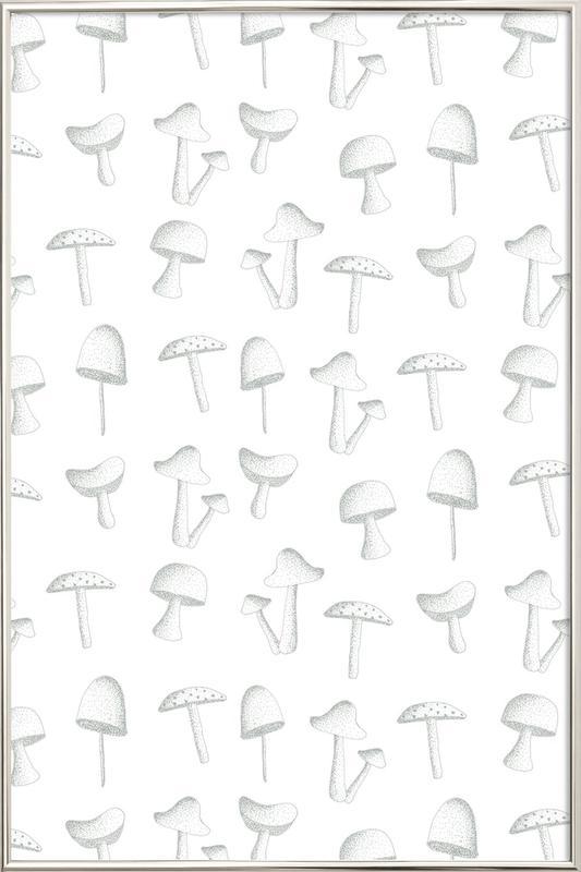 Mushrooms poster in aluminium lijst