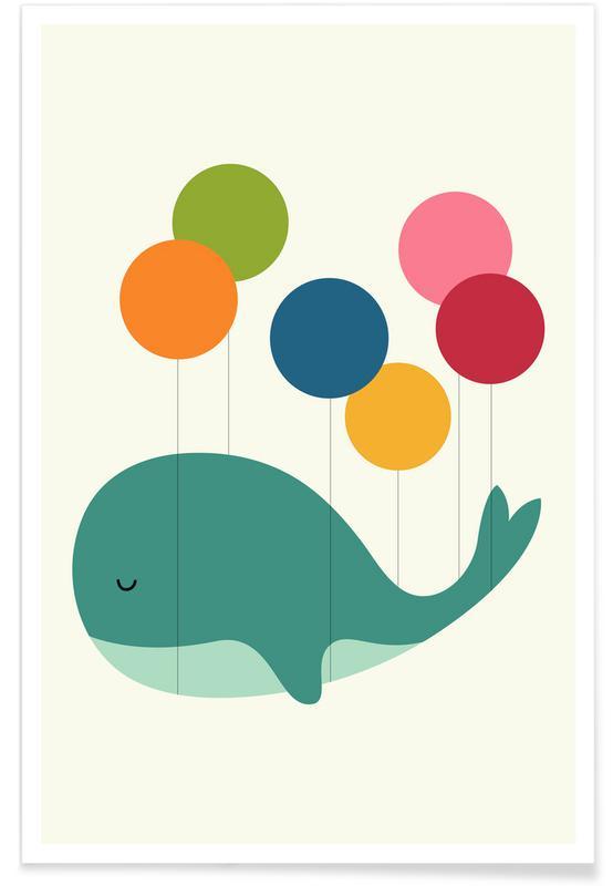 Schattige walvis en ballon illustratie poster