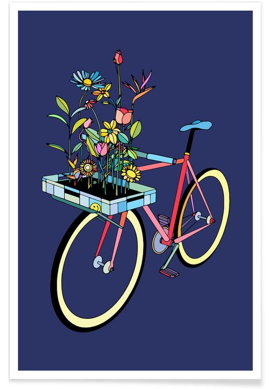 Bike and Flowers affiche