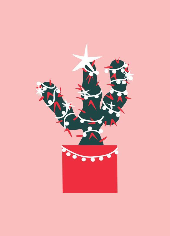 Christmas Cactus 1 Leinwandbild | Dekoration > Bilder und Rahmen > Bilder | Mehrfarbig | Holz
