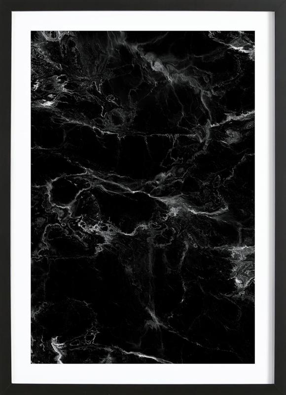 Schwarzer Marmor Framed Print