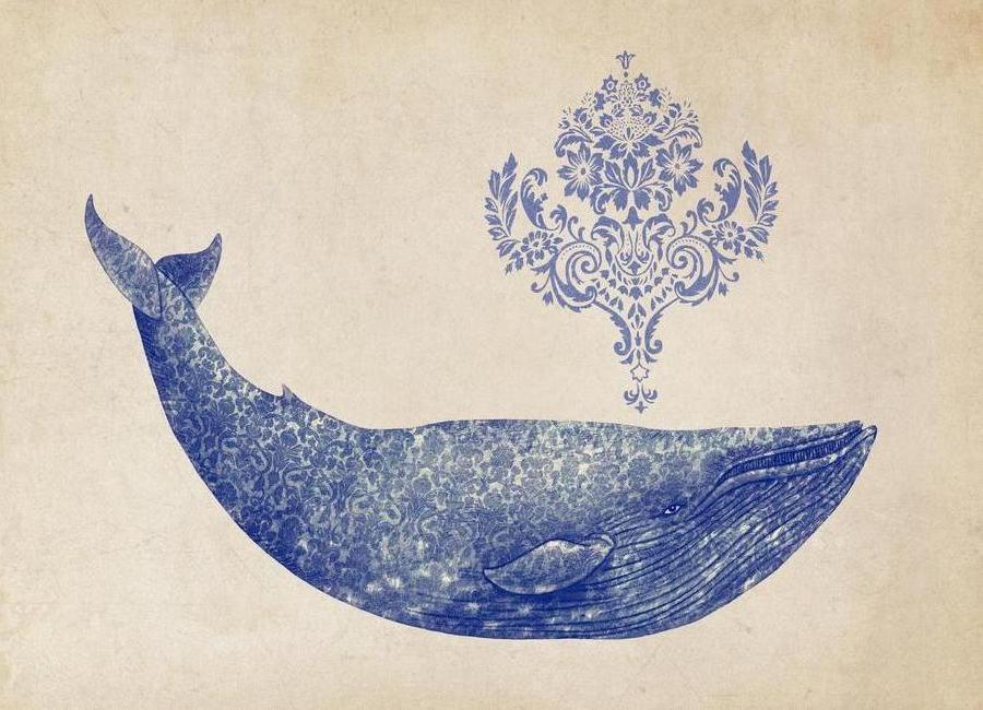 Damask Whale -Leinwandbild
