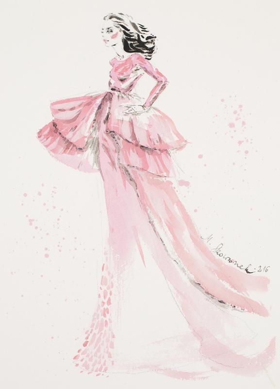 Pink gown -Leinwandbild