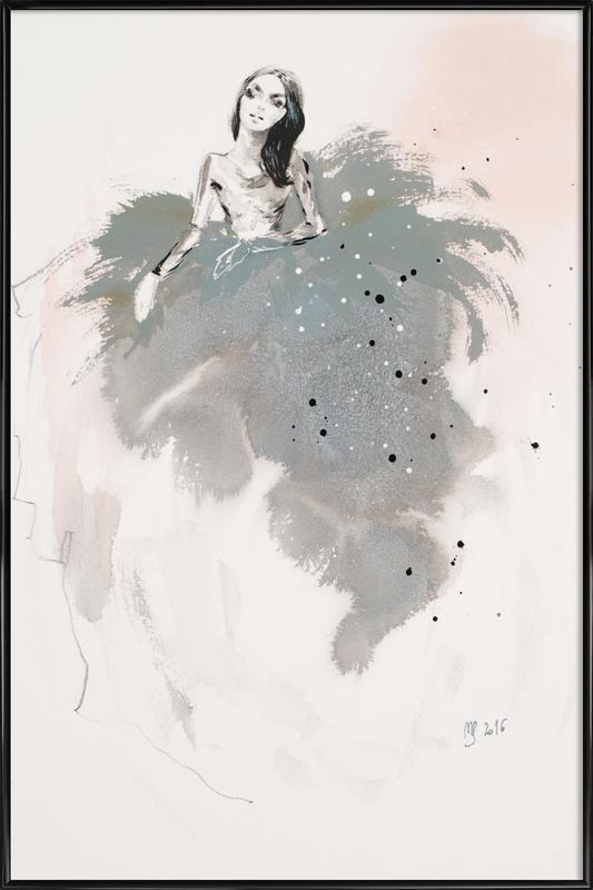 Fashion illustration in gray Gerahmtes Poster