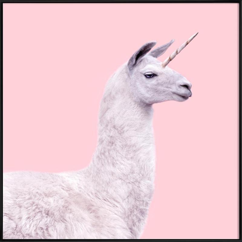 Llama Unicorn Framed Poster