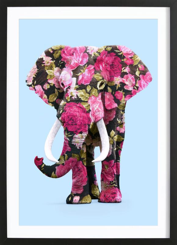 Floral Elephant affiche sous cadre en bois