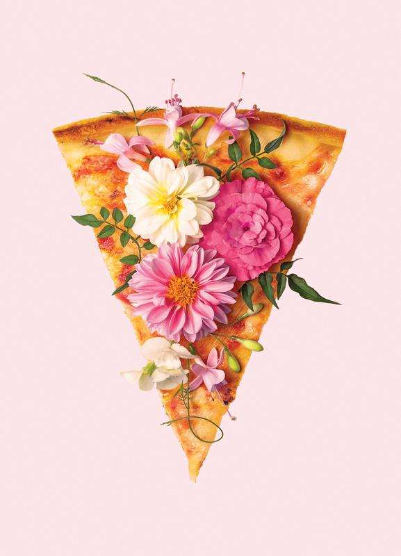 Floral Pizza -Leinwandbild