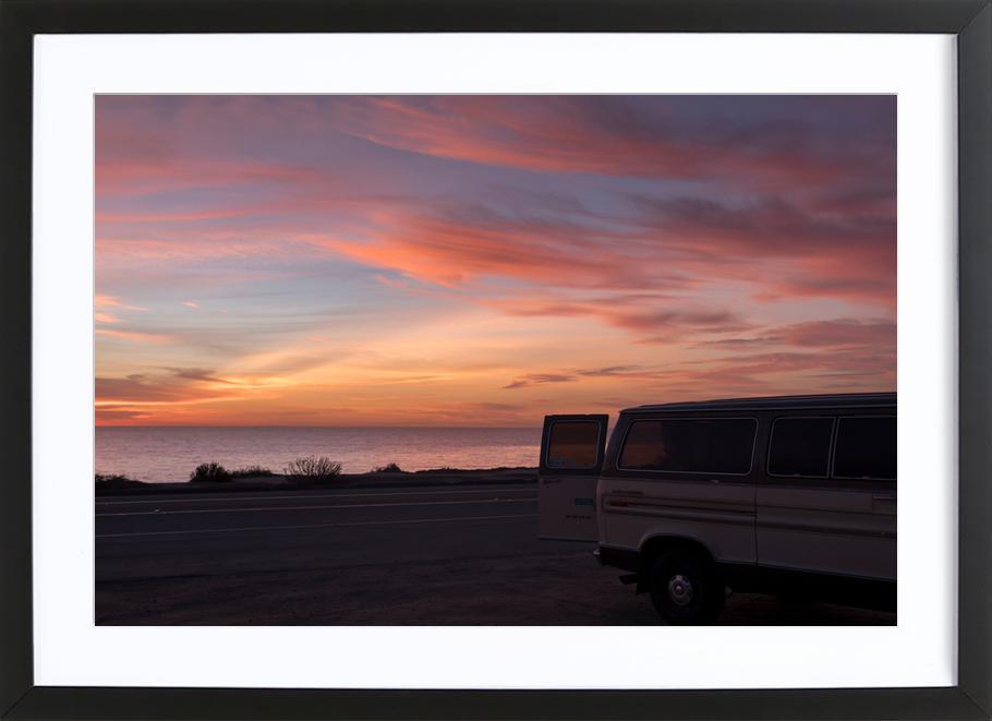 Cali Sunset -Bild mit Holzrahmen